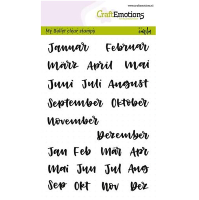 CraftEmotions clearstamps A6 - Bullet Journal - Monate 10mm (DE) 011712