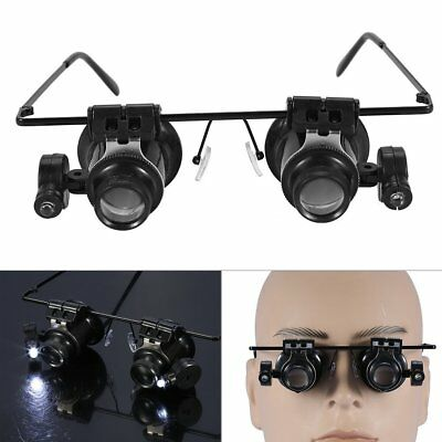 20X Magnifying Repairing Magnifier With 2 LED lights Eye Glass Jeweler Loupe UK