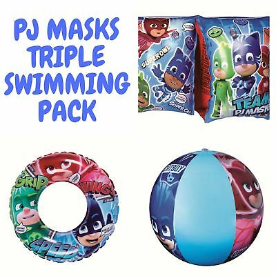 PJ Masks Kids Armbands, Swimming Ring & Beach Ball Set Multi-Pack - Ages 3-6yrs