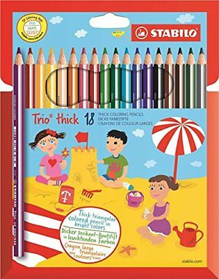 STABILO Trio Thick Colouring Pencils Wallet of 18 Assorted Colours