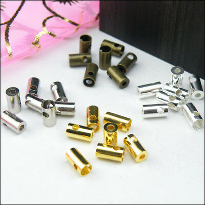 60Pcs Necklace/Cord Crimp End Cap Tip 3.5x7mm Silver,Gold,Br​​onze R0153