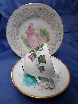 Vintage mismatched floral trio pretty English bone china cup plate saucer #5