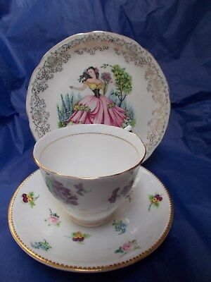 Vintage mismatched floral trio pretty English bone china cup plate saucer #6