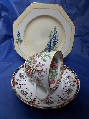 Vintage mismatched floral trio pretty English bone china cup plate saucer #7