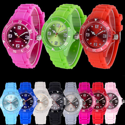 Unisex Silicone Rubber Watch Date For Jelly Wrist Adult Boys Girls Kid Gift Uk