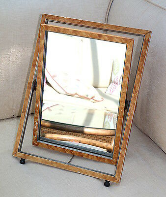 A Vintage Dressing Table Mirror Tortoiseshell Frame Rectangular & Easel Mounted