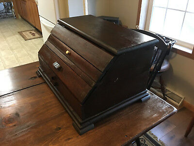 ANTIQUE HANDMADE SLANT FRONT TOOL BOX/DISPLAY CASE w/ FLIP TOP & ANGLED DRAWERS