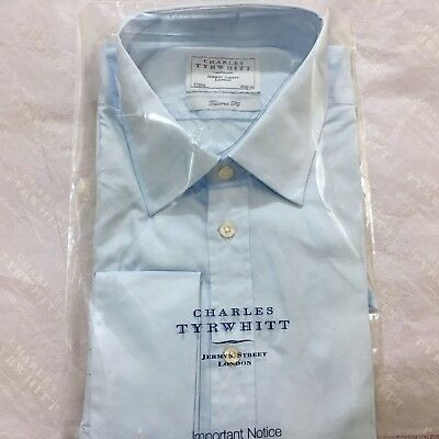"Mens Blue Shirt CHARLES TYRWHITT 17"" 43cm TAILORED FIT Double Cuff Cotton Shirt"