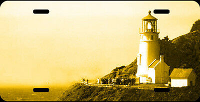 Airbrushed Heceta Head lighthouse gold car tag novelty license plate #1