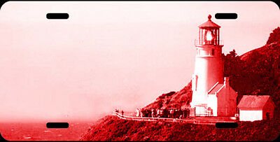 Airbrushed Heceta Head lighthouse red car tag novelty license plate #1