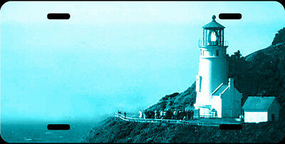 Airbrushed Heceta Head lighthouse teal aqua car tag novelty license plate #2
