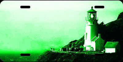 Airbrushed Heceta Head lighthouse green car tag novelty license plate #1