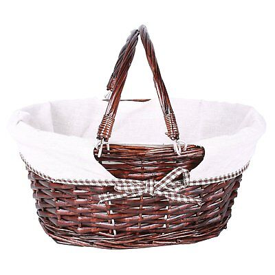 Foldable Handle Wicker Shopping Baskets Christmas Gift Hamper with Fabric Lining