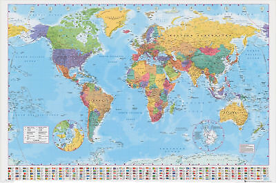BRAND NEW GIANT MAP OF THE WORLD  WALL POSTER WITH COUNTRY FLAGS 140cm x 100cm