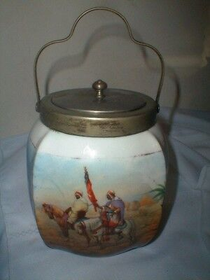 Antique Hand Painted Biscuit Jar Made In England