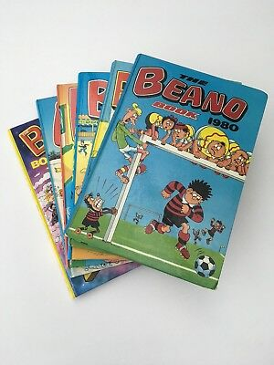 Collection of six Beano annuals: 1980-1984 and 2000