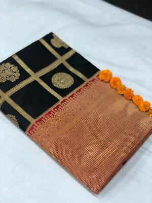Indian Bollywood Banarasi Silk Designer sari Wedding Party wear kanchipuram D8