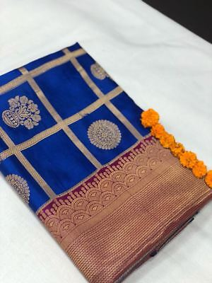 Indian Bollywood Banarasi Silk Designer sari Wedding Party wear kanchipuram D9