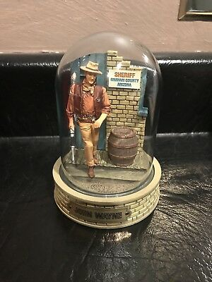 John Wayne Limited Edition Hand Painted Sculpture w Glass Dome,The Franklin Mint