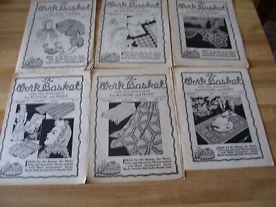 Lot Of 6 Vintage 1940s Workbasket Magazines Knitting Crocheting