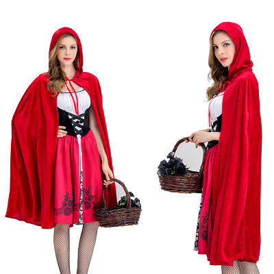 Women Little Red Riding Hood Ladies Fairytale Dress Costume Halloween Cosplay AU