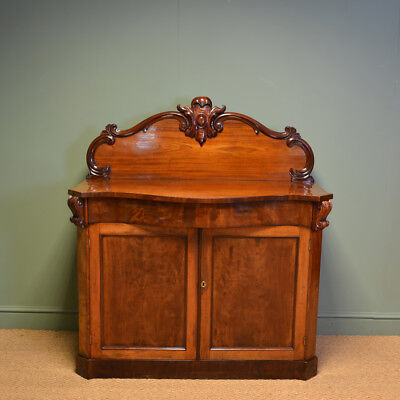 Beautiful Serpentine Front Victorian Mahogany Antique Chiffonier / Cupboard
