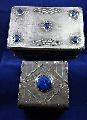 Two Lovely 'Arts and Crafts' Pewter Covered boxes with 'Ruskin Style Roundels'