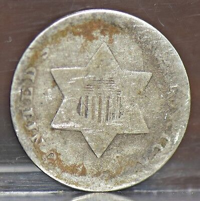 Three Cent Silver 3Cs - Type 1 - Unknown Date - AG (#12299)