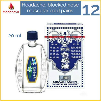 12x 20ml WHITE FLOWER OIL relief of headache, blocked nose, muscular cold pains