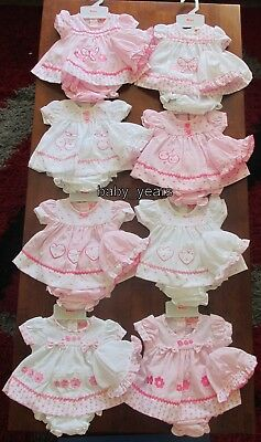 Premature Baby Girls Clothes Outfit Pink White Dress Knickers Mop Hats 3-5 5-8Lb