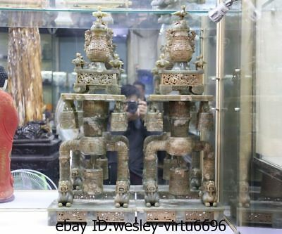 Chinese Natural Old Jade Nephrite Dynasty Bird Zun Vase Beast Chime Bell A Set L