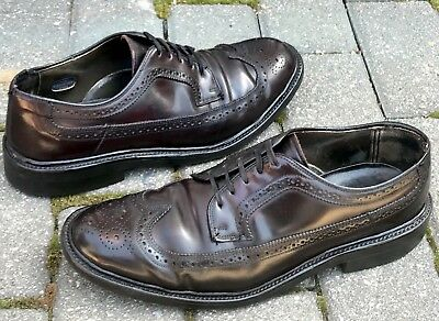 HANOVER Mens Genuine Shell Cordovan Wingtip Dress Shoes Size 7.5 B/D Made In USA