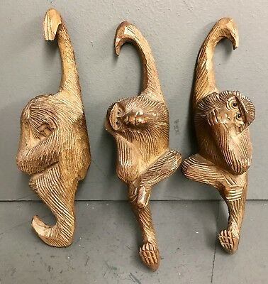 Antique Black Forest Carved Three Wise Monkeys - See No Evil