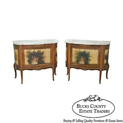 French Louis XV Style Verni Martin Pair of Marble Commodes Consoles