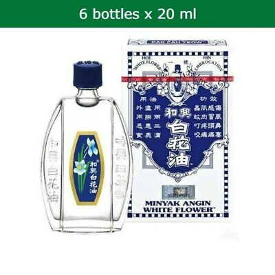 6x 20ml WHITE FLOWER OIL relief of headache, blocked nose, muscular cold pains