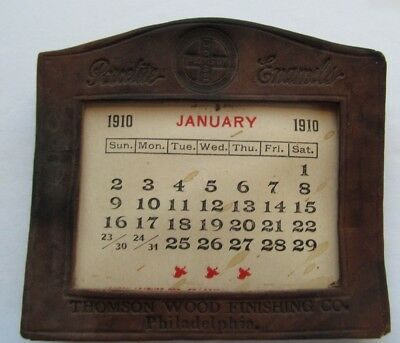 Thomson Wood Finishing Porcelite 1910-1911 Leather Calendar Philadelphia