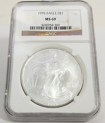 1995 $1 American Silver Eagle 1 Ounce Fine Silver NGC MS 69