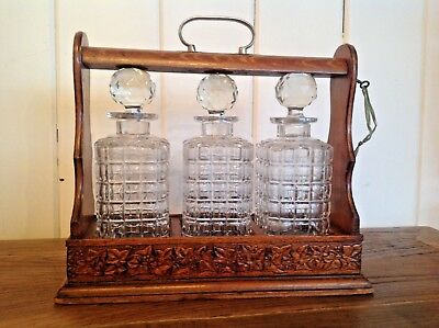 Antique Oak and Silver Plate Three Bottles Tantalus, circa 1890 -1905
