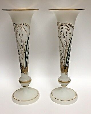 """Pair White Glass Vases Fluted Trumpet Vases Translucent Hand Painted 14"""" Tall"""
