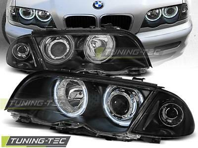 Coppia Fari Anteriori Bmw E46 05.98-08.01 S/t Angel Eyes Black*596