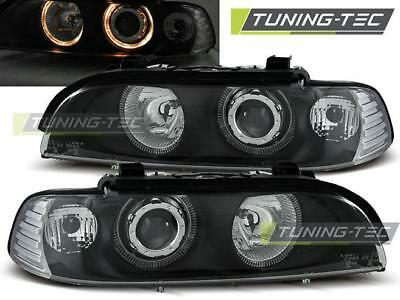 Coppia Fari Anteriori Bmw E39 09.95-06.03 Angel Eyes Black*557