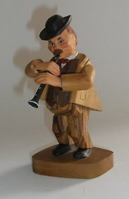 "Vintage 6"" Anri Wooden Carved Man Playing Clarinet Figurine - Italy"