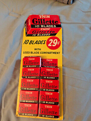 Vtg Gillette 10 Thin Razor Blades Boxes On Display Card, 9 Full Boxes Left