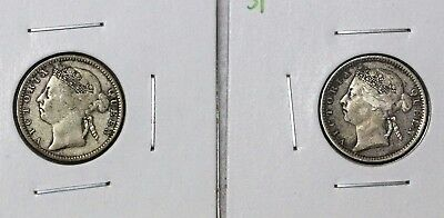 Straits Settlements 1900 & 1901 10 Cents Silver Victoria BOTH NICE ORIGINAL COIN