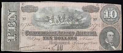 1864 $10 Confederate Currency Fine Nice Problem Free Example!