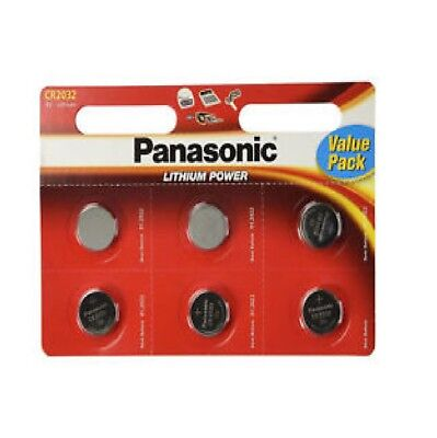 6 x Panasonic CR2032 3V Lithium Coin Cell Battery DL/BR 2032