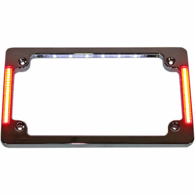 Custom Dynamics Chrome Tri Horiz Run Brake Turn License Plate Frame LED Harley