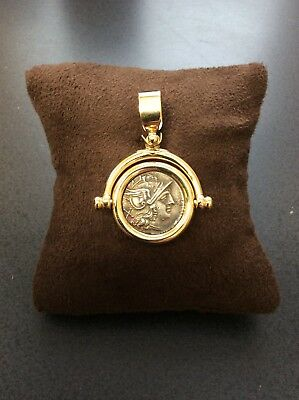 Ancient Original Roman Coin 18 K Gold Pendant