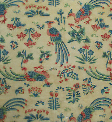 Antique Crepe Silk Fabric Depicts Birds Small Florals French