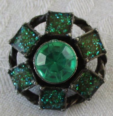 Antique Silver Colored Metal Button w/Green Settings French